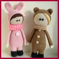 Muñecos amigurumis disfrazados de animales