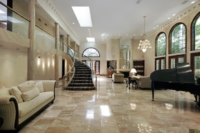 Living Room Marble Flooring Applications