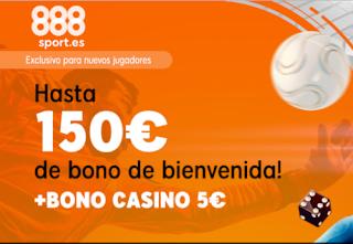 888Sport bienvenida dobla tu deposito hasta 150€ + 5€ casino