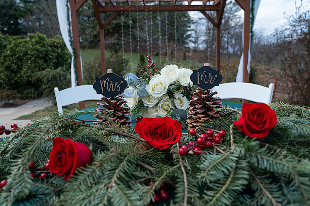 Sweetheart table with red roses pine leafs and cranberries and pinecones Magnolia Farm Asheville Wedding Photography captured by Houghton Photography