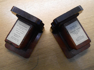 Bookends made from bricks from Stephen Cranes home