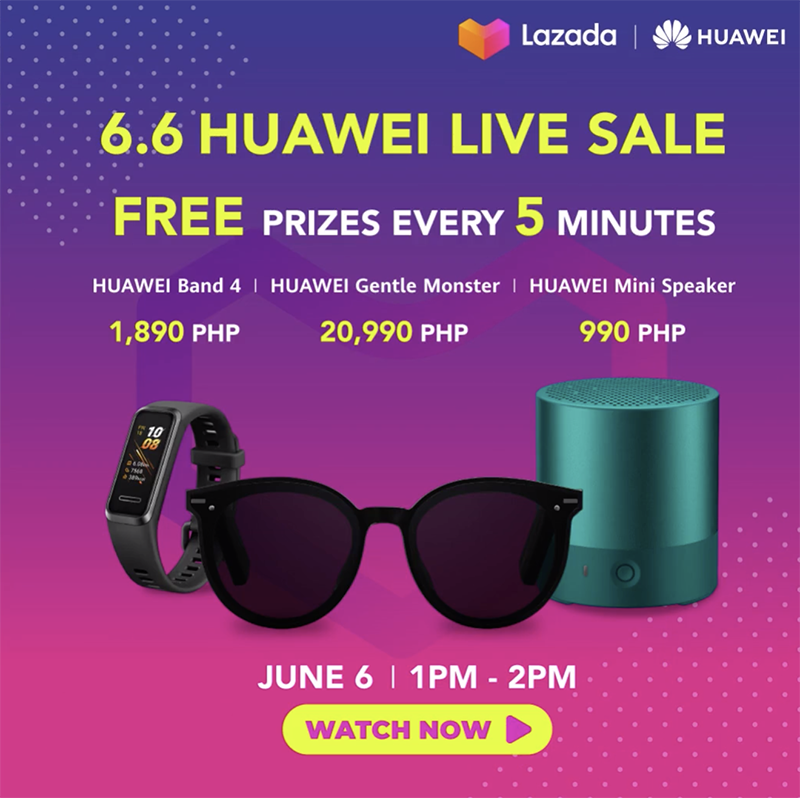 Prizes every 5 minutes during Huawei Live Sale