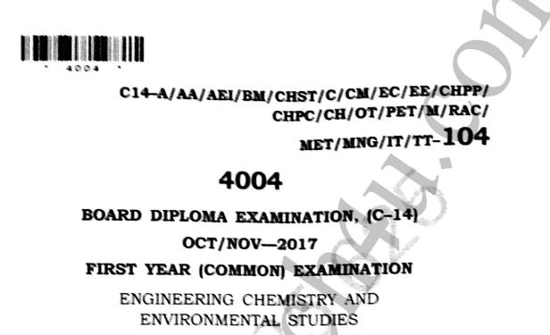 Polytechnic c14 Engineering Chemistry Previous Question Paper c14 Mechanical Oct/Nov-2017