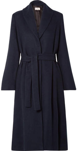 The Row - Dranner Belted Cotton And Wool-blend Coat – Navy