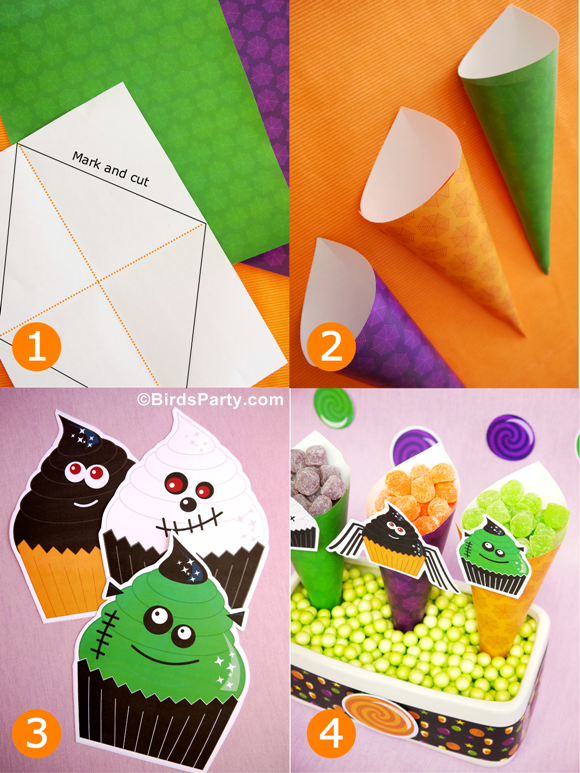 DIY Halloween Candy & Treat Cones  - BirdsParty.com