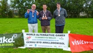 Egg Throwing medal winners at the 2012 World Alternative Games - Jas Kukielka, Richard Gottfried & Seve Kukielka