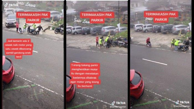 VIRAL 3 Tukang Parkir Selamatkan Pengendara Motor yang Alami Rem Blong, Relakan Badannya Ditabrak