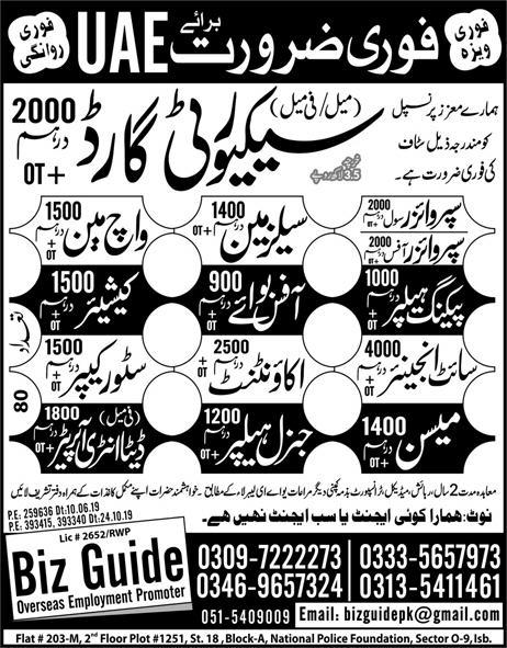 Latest Private Jobs in UAE for Security Guard 2000 Dirham Salary