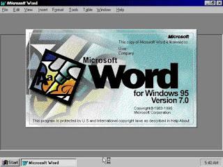 Tampilan Microsoft Word 95