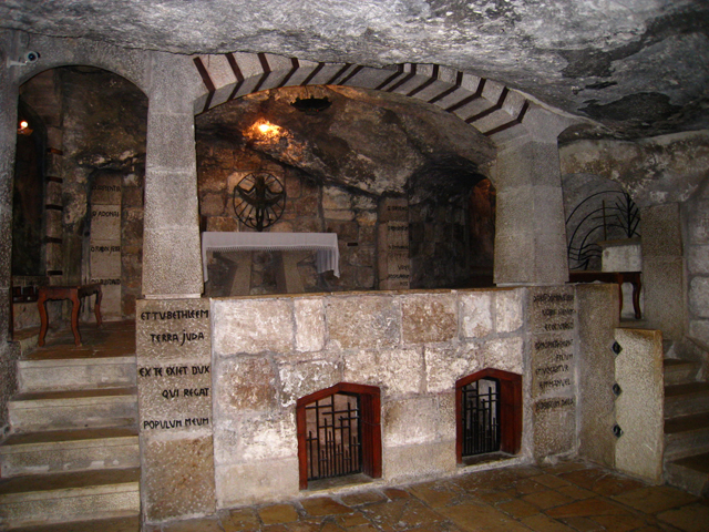 Gruta de San José, en la Iglesia de la Natividad (Belén)