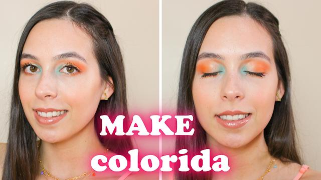 Maquiagem laranja, azul e dourada!
