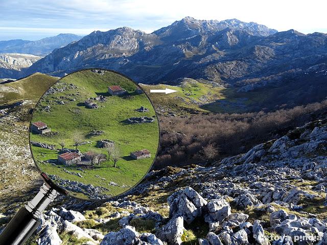 Zoom a las Majada de Las Bobias desde lo alto del Canto Ceñal