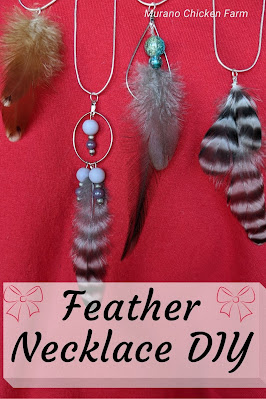 Handmade feather necklaces. Tutorial