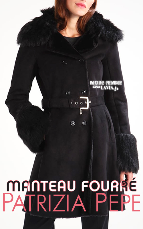 Manteau col fausse fourrure noir texture suédée PATRIZIA PEPE