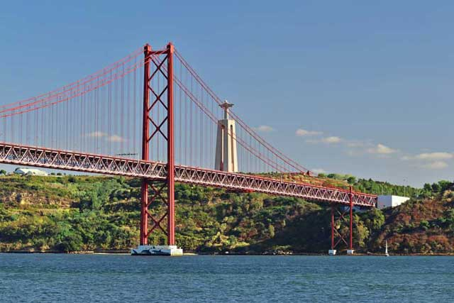 Ponte 25 de Abril (25th of April Bridge), with the statue of Cristo Rei
