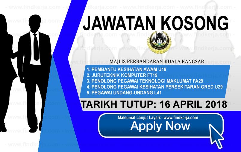 Jawatan Kerja Kosong Majlis Perbandaran Kuala Kangsar logo www.findkerja.com april 2018
