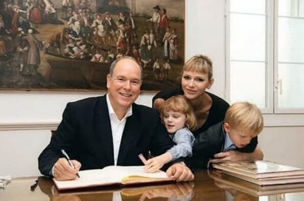 Prince Albert, Princess Charlene, Prince Jacques and Princess Gabriella attended a reception hosted by Calvi Mayor Ange Santini