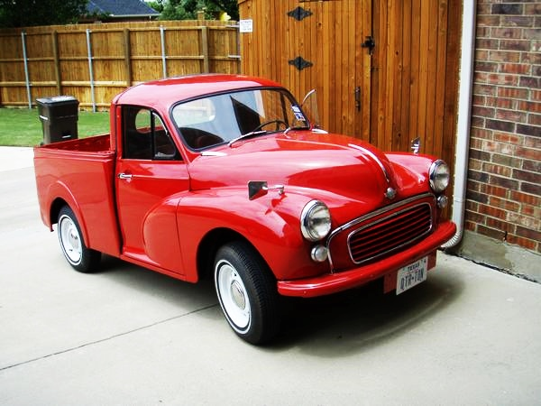 red morris minor pick up truck