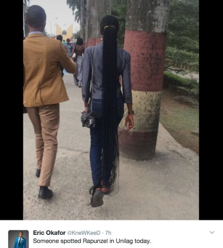 Girl with braids touching the ground spotted at UNILAG