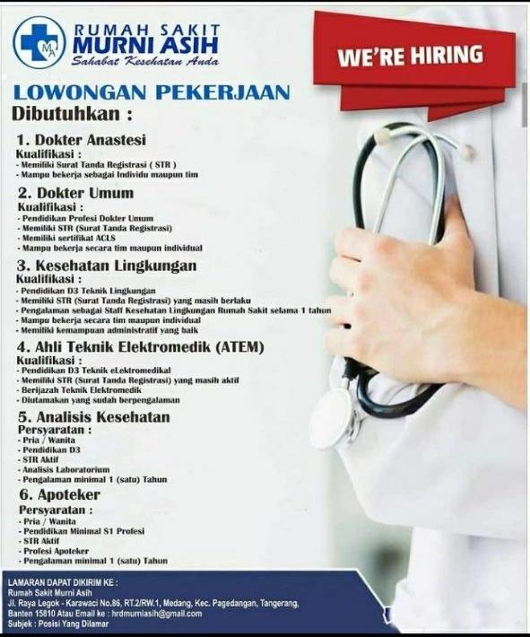 Loker Dokter Anastesi dan Dokter Umum RS Murni Asih Tangerang