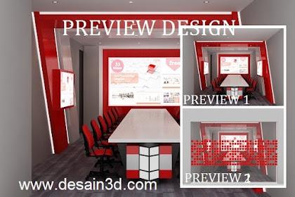 Jasa desain ruang meeting modern nuansa merah