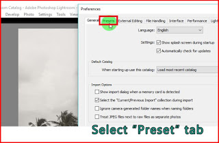 Select preset tab lightroom
