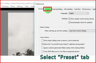 Select preset tab Lightroom