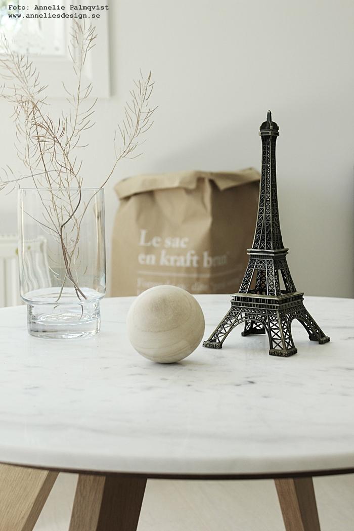 Eiffeltorn, eiffeltornet, paris, inredning, prydnad, dekoration, inredningen, annelies design, webbutik, webbutiker, webshop, online, nätbutik, nätbutiker, träboll, träkula, trä, boll, marmor bord, le sac en papier, brun förvaringspåse, bruna påsar, rea, erbjudande sommarrea, rabatt, vardagsrum, vardagsrummet,