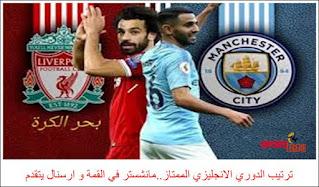ترتيب الدوري الانجليزي الممتاز..مانشستر في القمة و ارسنال يتقدم