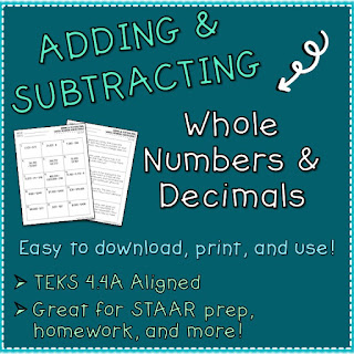https://www.teacherspayteachers.com/Product/Addition-and-Subtraction-Whole-Numbers-and-Decimals-Worksheets-3772156