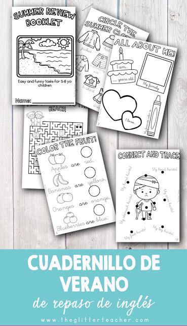 Cuadernillo de verano imprimible con actividades divertidas para completar, trazar, escribir, dibujar y colorear relacionadas con los centros de interés más cercanos a los/as niños/as de 5 a 8 años en inglés.