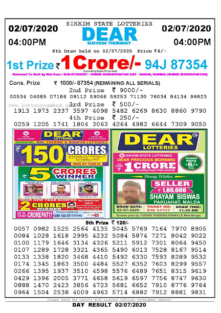 Sikkim State Lottery Sambad 02-07-2020 Today Result 4 PM