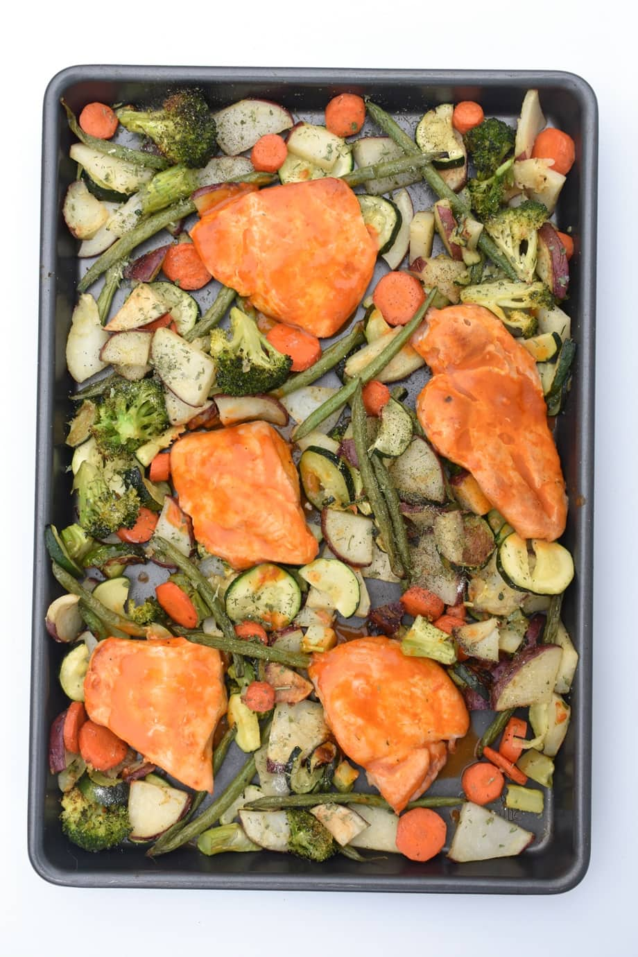 Sheet Pan Buffalo Chicken and Ranch Vegetables