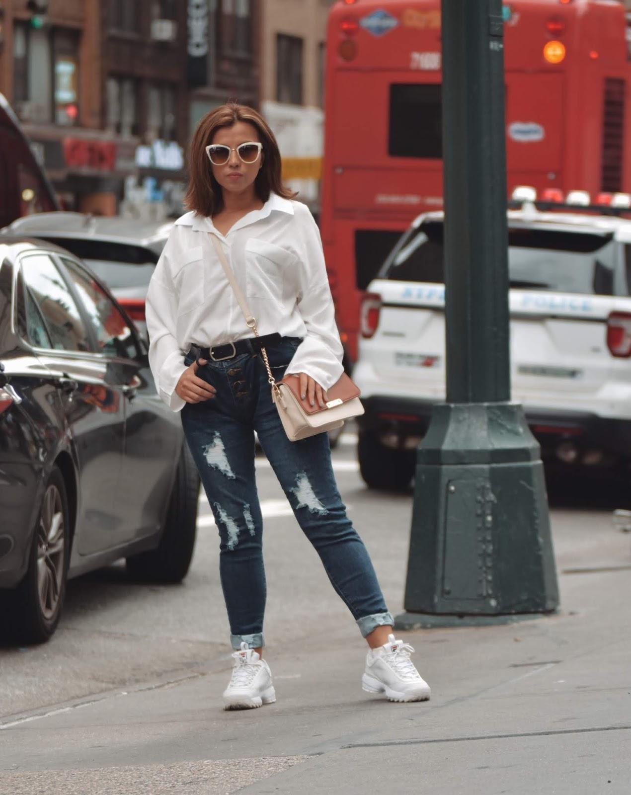 White Long Sleeves Lapel Collar High-Low Loose Top-mariestilo-lookbookstore-