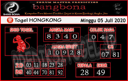 Prediksi Bangbona Hongkong Minggu 05 Juli 2020