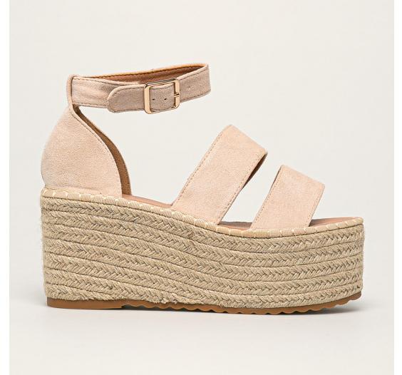 Platforme casual fashion de vara cu talpa inalta bej din piele intoarsa ecologica