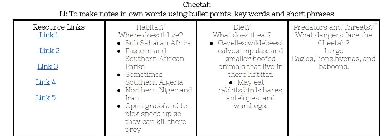 Nazanin Panmure Bridge School Cheetah Note Taking Sheet – Note Taking Worksheet