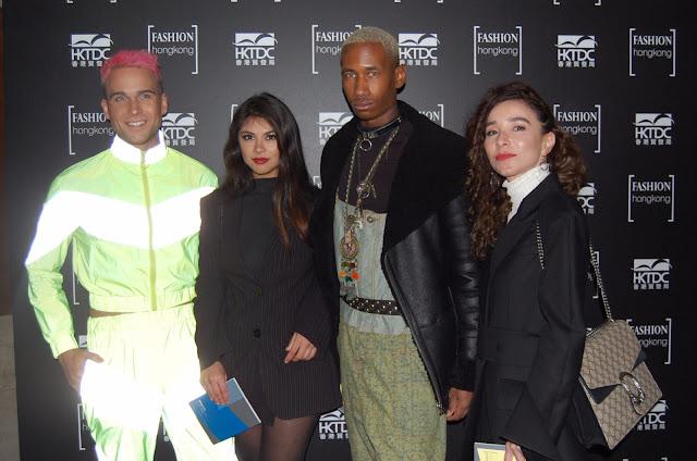 Kelly Fountain fashion blogger, Jakk Maddox male model, and John Allen fashion designer at London Fashion Week