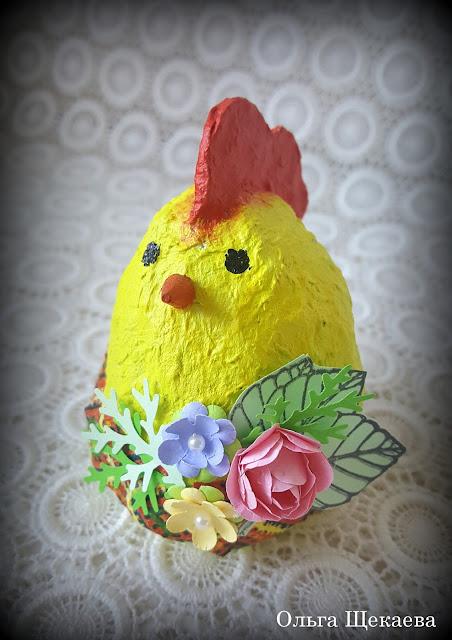 папье-маше, пасха, кролик, цыплёнок, яйцо