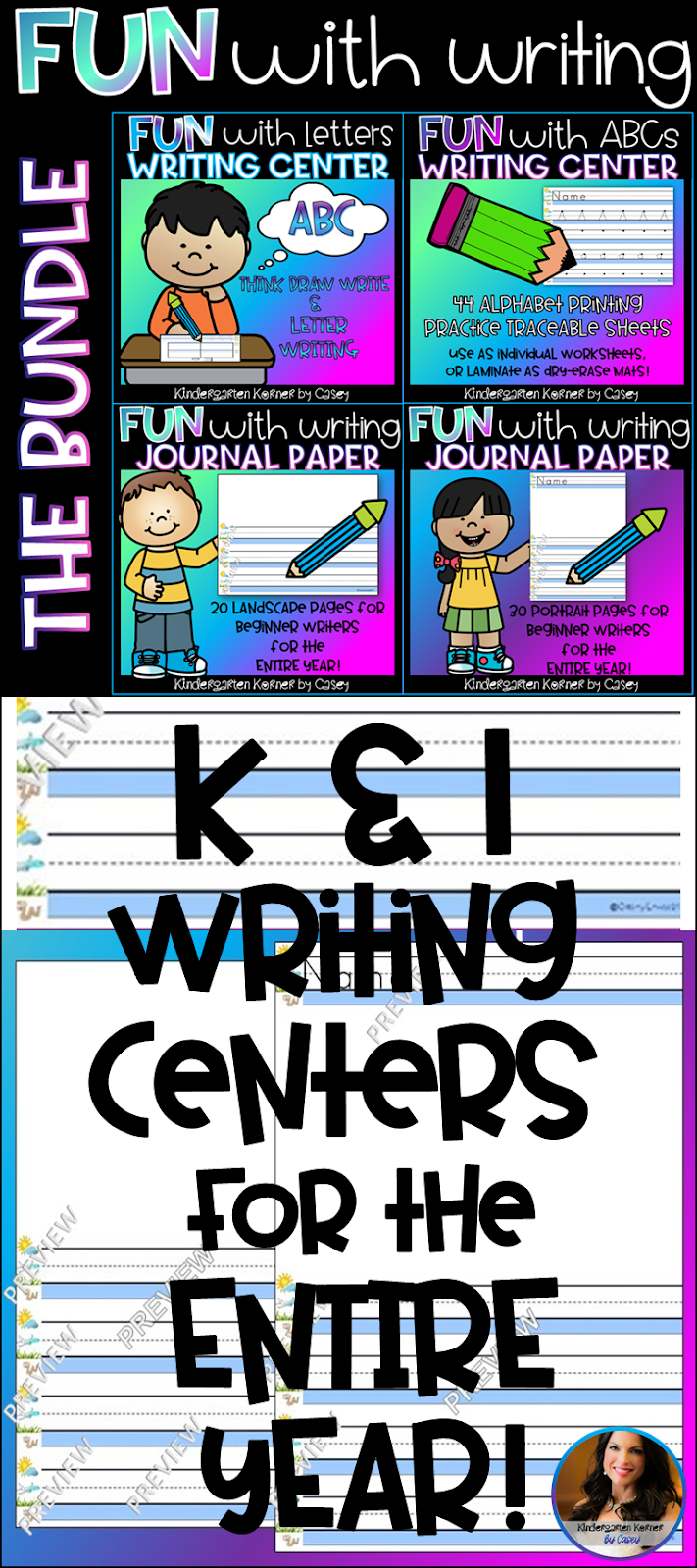 Creating Writing Centers in Kindergarten \u0026 1st Grade! - Kindergarten Korner [ 1600 x 711 Pixel ]