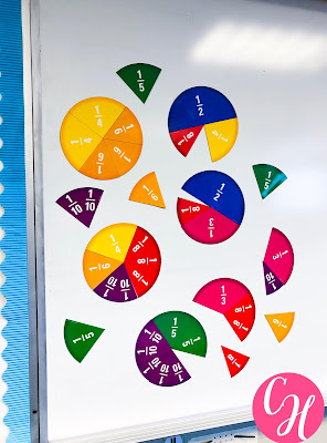 Having large fraction pieces on the white board for students to see is a great way during whole class discussions to demonstrate what you are discussing.