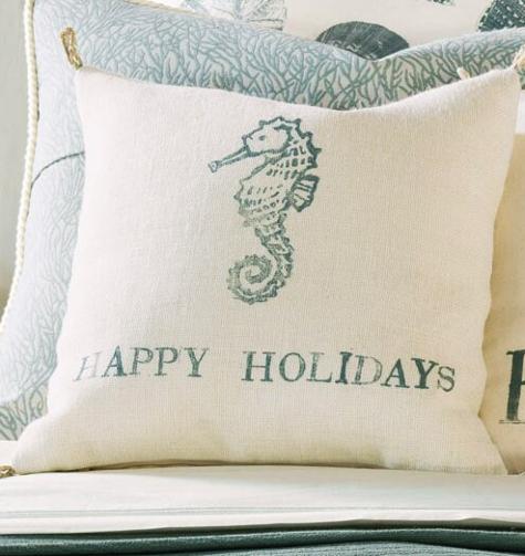 Coastal Beach Christmas Pillows Sayings Quotes