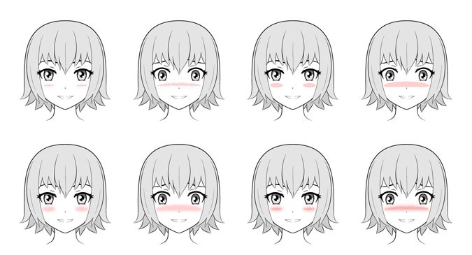 Wajah anime dengan contoh gambar memerah