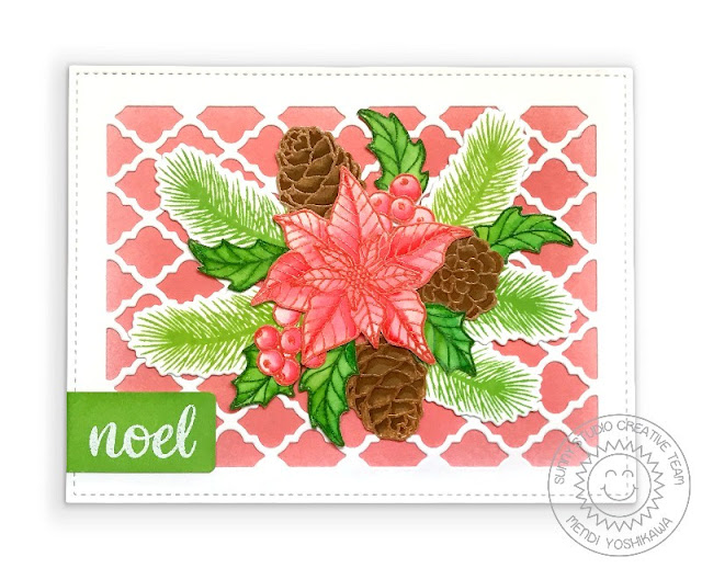 Sunny Studio Coral Poinsettia Handmade Holiday Christmas Card (using Classy Christmas Stamps  & Frilly Frames Quatrefoil Dies)