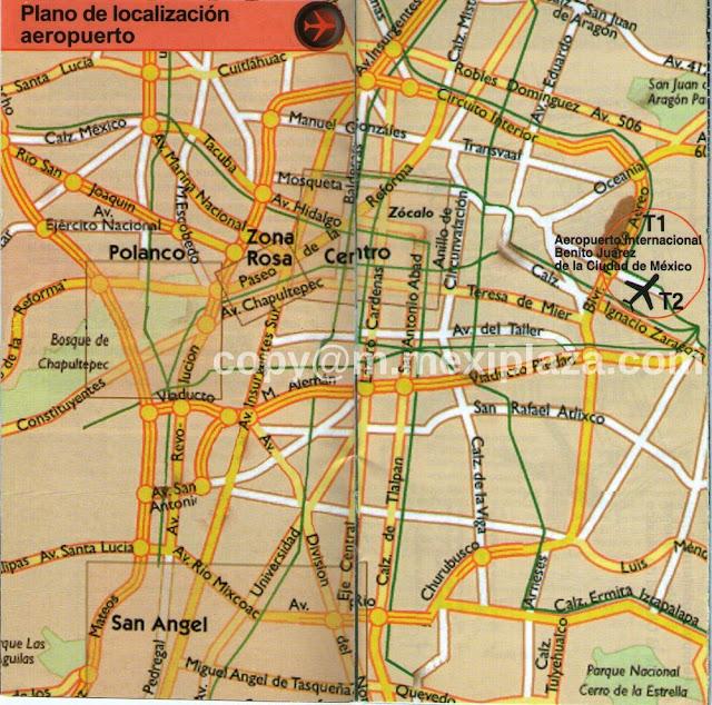 Plano de localización aeropuerto T2 - AICM - croquis