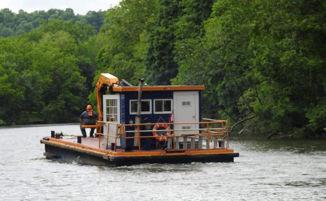 Erie Canal work barge equipped to remove trees, dig banks