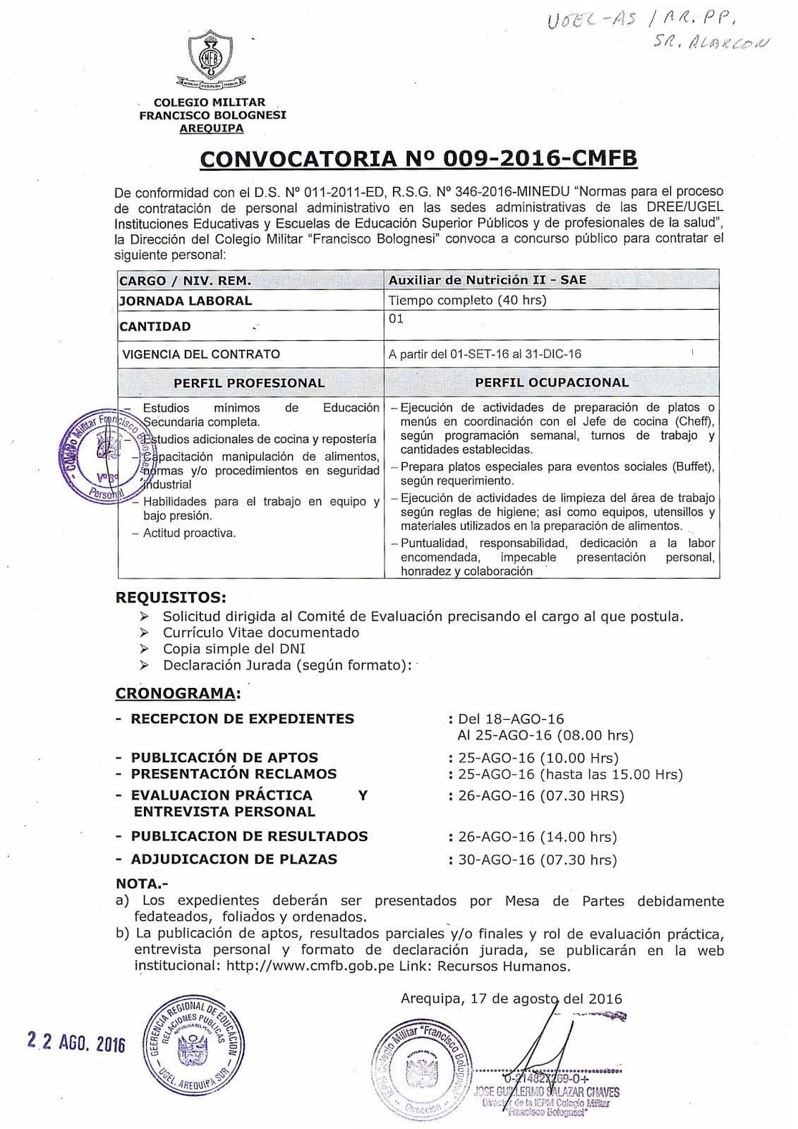 C m francisco bolognesi convoca a concurso p blico for Plazas concurso docente 2016