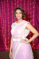 Surabhi in Designer Pink Saree and White Sleeveless Choli at Zee Telugu Apsara Awards 2017 06.JPG