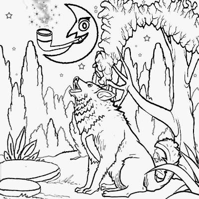 Free kids super printables creepy forest howling wolf barking at the moon colouring crafts artwork