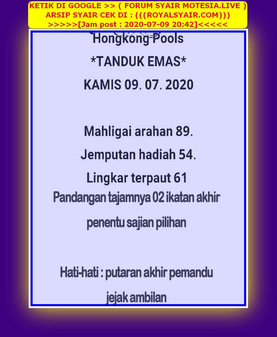 Kode syair Hongkong Kamis 9 Juli 2020 23